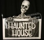 """7-""""Haunted House"""" Sign with Skeleton"""